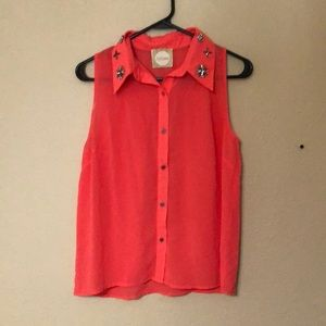 Coral colored button up shirt